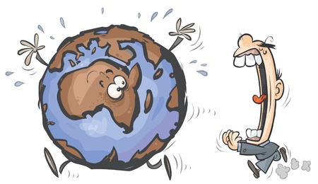 perilous: Cartoon Earth chased by Greedy Man.