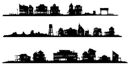 Westerse stijl gebouwen. Silhouet tekening. Vector Illustratie