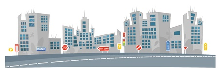 City View. Cartoon Background with captions on separate layer.  Vector