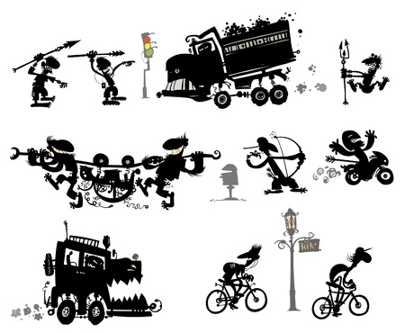 off road vehicle: Funny modern primitive silhouettes.