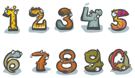 0 6: Cartoon Animal Numbers.  Illustration