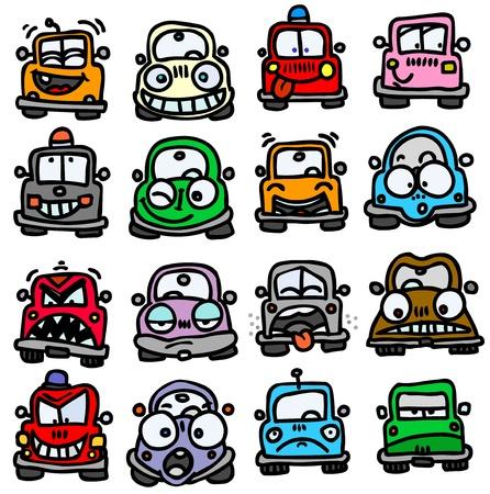 cabizbajo: Coches divertidos emoticonos. Vectores