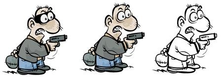Cartoon Gunman in three different variants Stock Vector - 16927632