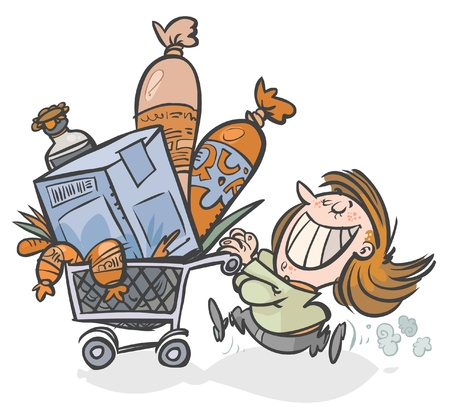 push cart: Cartoon image of a Woman with a full Shopping cart