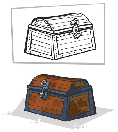 Old chest  Cartoon style  In color and outline  Vector