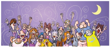 Cartoon Night Party People  Vector