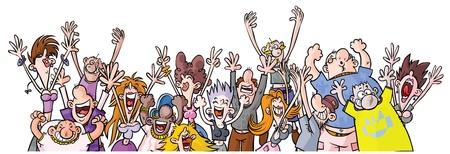 Cartoon Party People  Illustration
