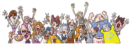 crowd happy people: Cartoon Party People  Illustration