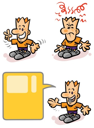 Cartoon character in different moods and positions