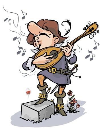 Romantic cavalier performing serenade