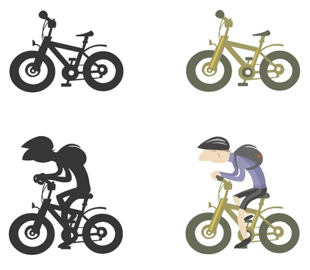 Set of bike and bicyclist cartoon silhouettes