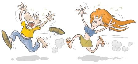 zapatos caricatura: Hombre corriendo asustada y mujer