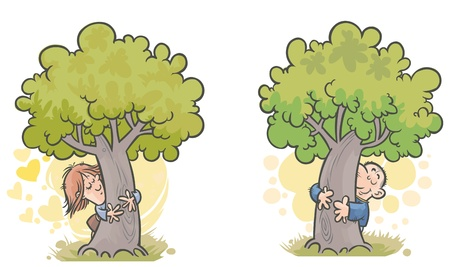 Woman and man Tree huggers