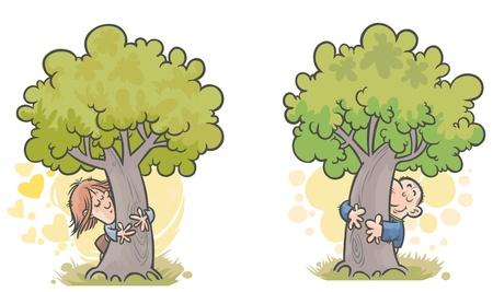 Woman and man Tree huggers