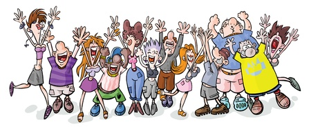 party: Funny party people cartoon illustration  Illustration