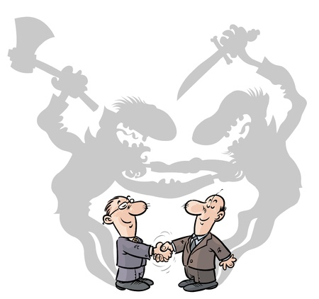 Two Cartoon illustration of a businessmen handshaking with ulterior motives
