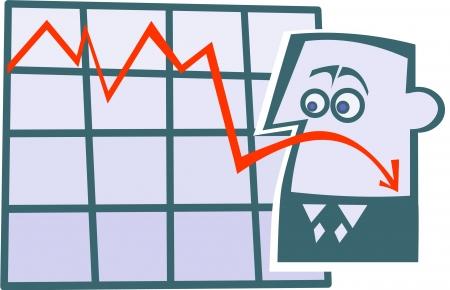 downfall:  Cartoon business diagram emoticon-sad  Illustration