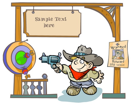 Child Cowboy with western playground   Vector