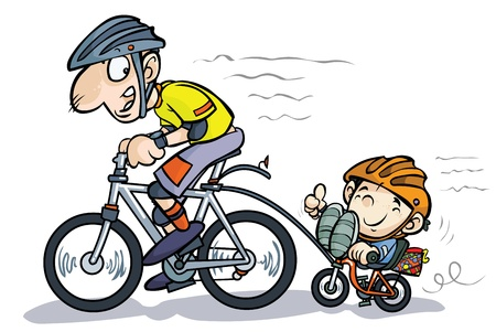 Cartoon Father and Son Bicyclists   Vector