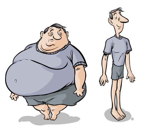 Cartoon Fat-slim male characters  Vector