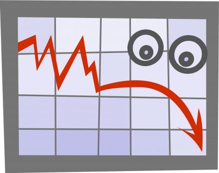 downfall: Business diagram emoticon-sad   Illustration