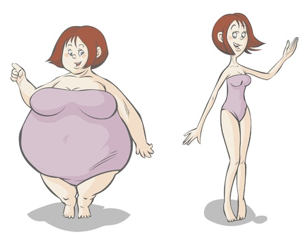 fat to thin: Cartoon Fat-slim female characters