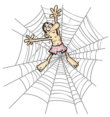 underpants: Cartoon Man wearing underpants in Spider web