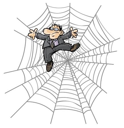 Caricatura del hombre de negocios en la tela de araña