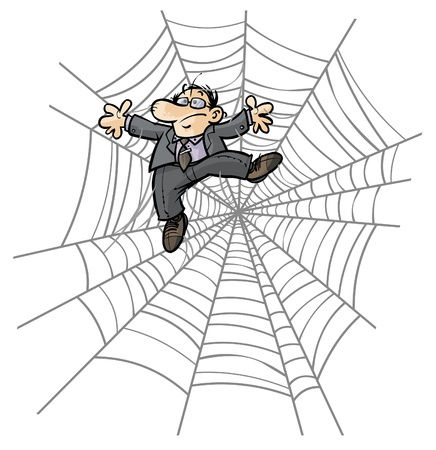 cartoon spider: Cartoon Business man in Spider web