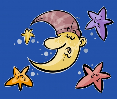 Sleeping Moon and stars  Vector