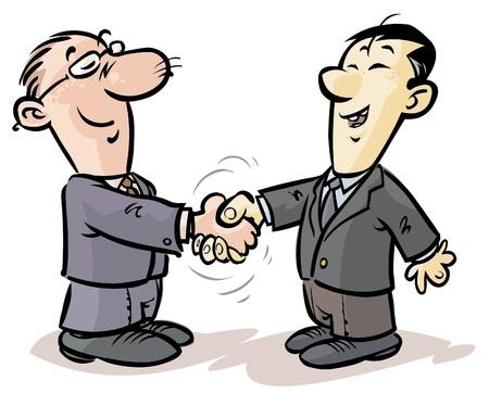 dva: Handshake podnikatelů z různých národností Ilustrace