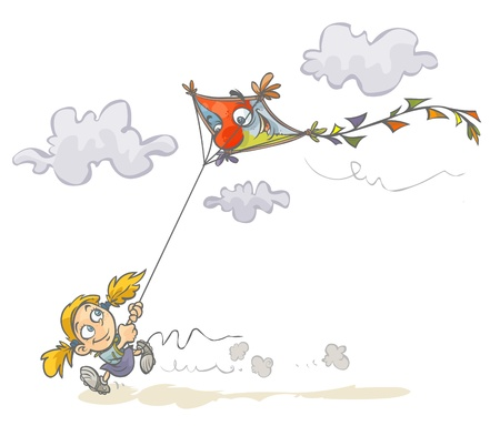 Cartoon Girl with funny kite