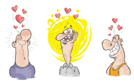 soppy: Three funny characters in love  Illustration