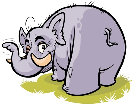 Cartoon Elephant who indicates with his trunk