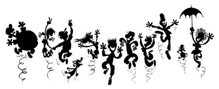 Happy people  Cartoon silhouette drawing