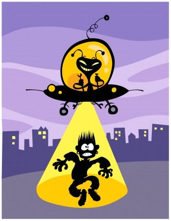 abduction:  Cartoon UFO abduction  All in separate layers  Illustration