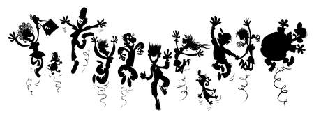 Gelukkig party people Silhouet cartoon Stock Illustratie