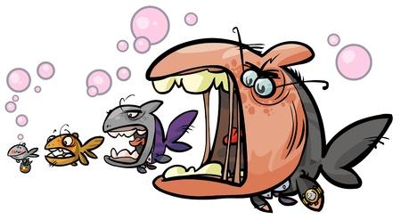 Big fish Cartoon allegory  Illustration