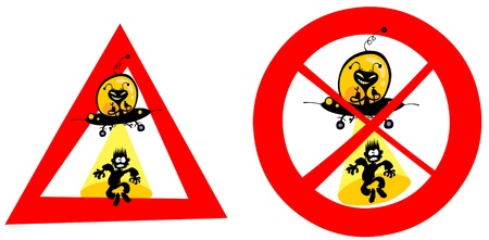 Funny UFO abduction signs  Vector