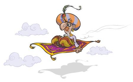 sultano: Cartoon Mago a volare tappeto magico Vettoriali