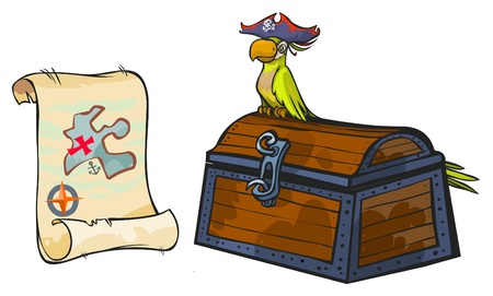 Pirate map, chest and parrot  Vector