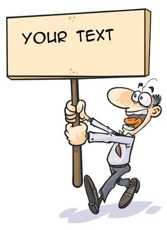 Cartoon man holding a placard
