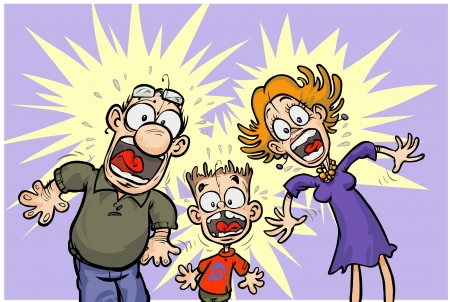 unpleasant: Cartoon shocked Family  All in separated layers