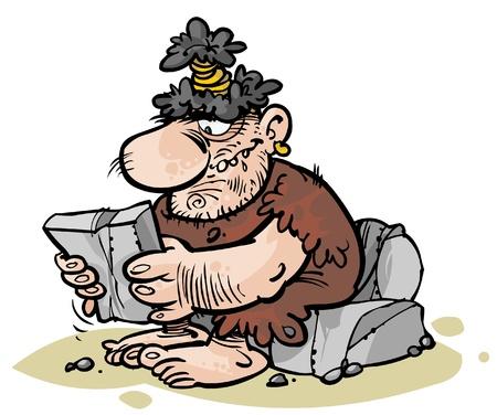 Cartoon Caveman reading stone newspaper   Illustration