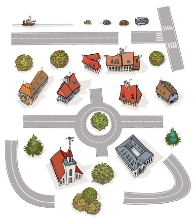 modules: Buildings and roads modules, all in separated layers  Illustration