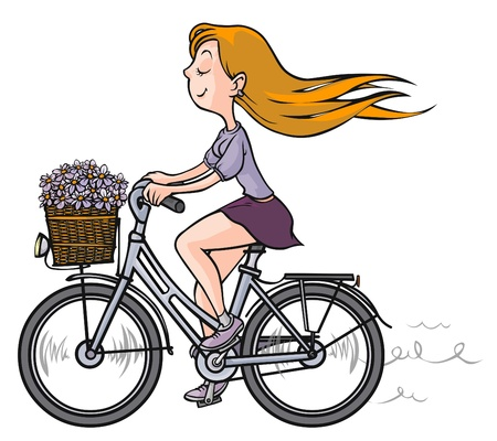 Romantic Girl on bicycle   Vector