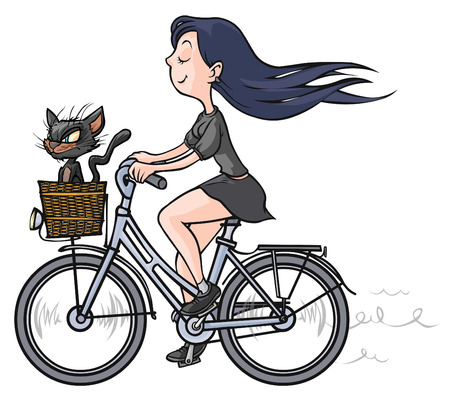 Brunette girl with a black cat on bike  Vector