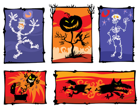 Horror cartoon silhouettes with color backgrounds  Vector