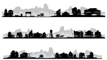 Set of silhouette buildings in western style
