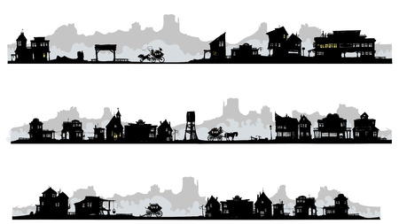 Set of silhouette buildings in western style
